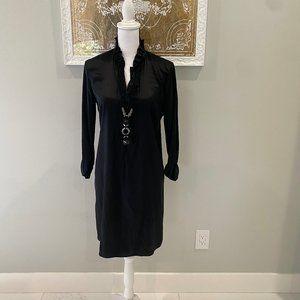 ELie Tahari Black Silk Long Sleeve Dress (4)